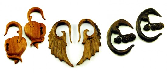 Organic Natural Wood Ear Plug Jewelry